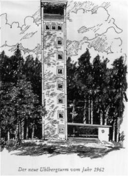 Zeichnung vom Uhlbergturm bei Plattenhardt